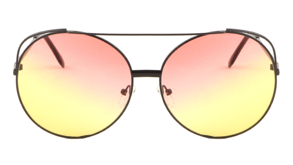 Rounded Aviators Oceanic Color Lens Wholesale Sunglasses