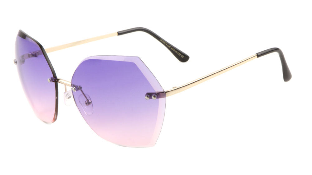 Rimless Butterfly Double Stud Oceanic Color Lens Wholesale Bulk Sunglasses