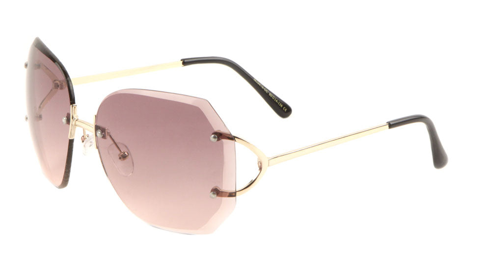Rimless Butterfly Oceanic Color Round Metal Temple Wholesale Bulk Sunglasses