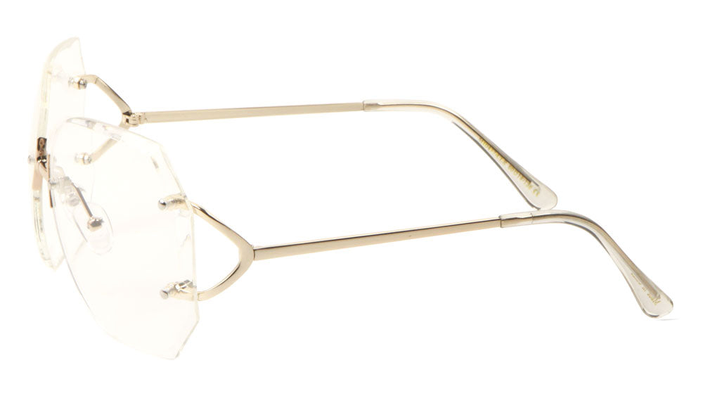 Rimless Butterfly Clear Lens Round Metal Temple Wholesale Bulk Glasses