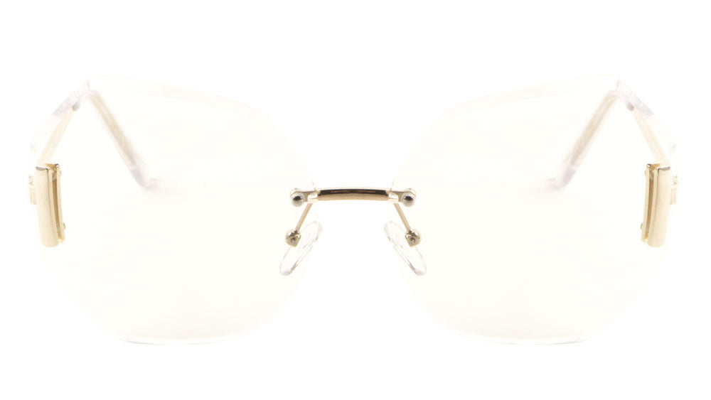 Rimless Butterfly Clear Lens Rectangular Accent Wholesale Bulk Glasses