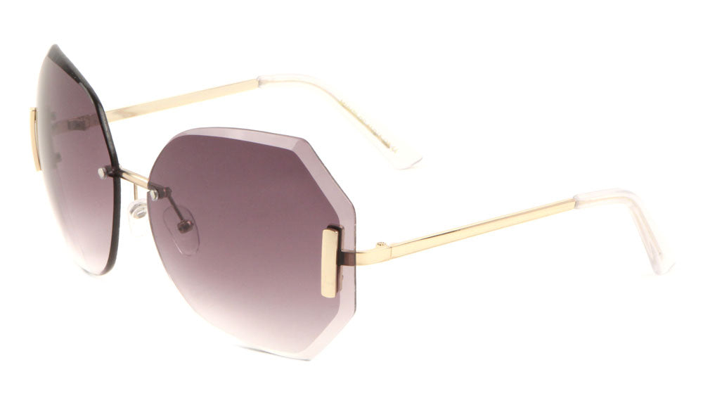Rimless Butterfly Oceanic Color Rectangular Accent Wholesale Bulk Sunglasses
