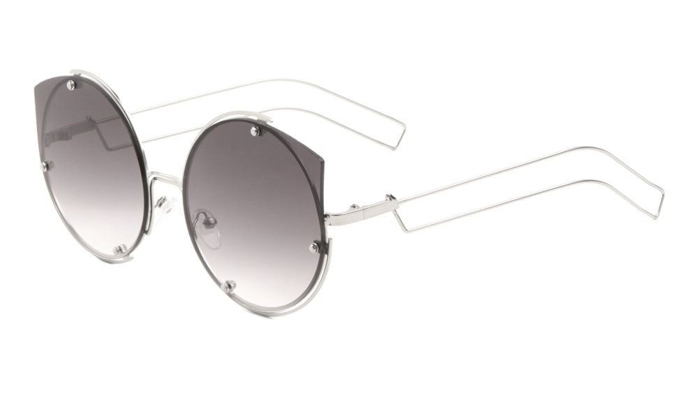 M10490-CM - Rimless Cat Eye Color Mirror Fashion Wholesale Sunglasses