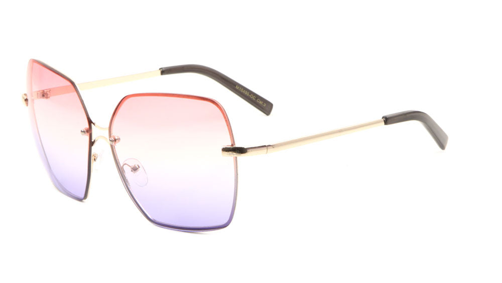 Rimless Oceanic Color Butterfly Wholesale Sunglasses
