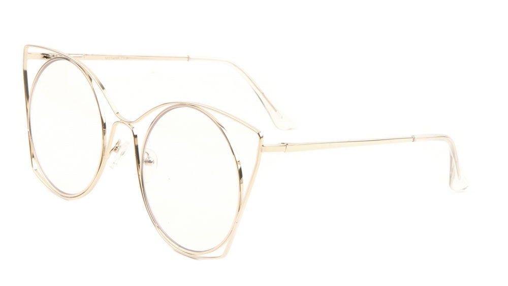 Round Cat Eye Clear Lens Wholesale Bulk Glasses
