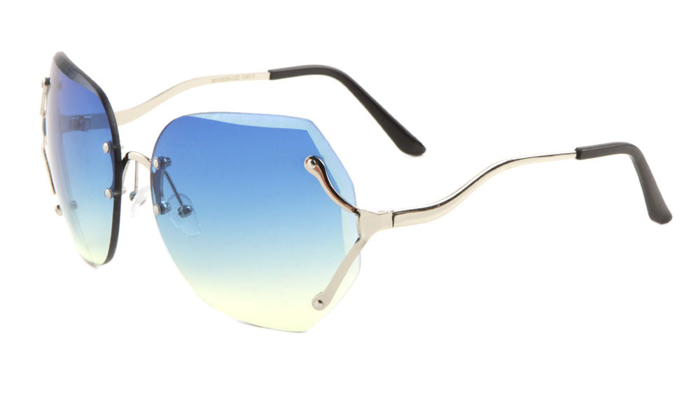 Rimless Butterfly Curved Leg Oceanic Color Lens Wholesale Sunglasses