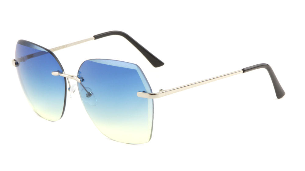 Rimless Butterfly Oceanic Color Wholesale Bulk Sunglasses