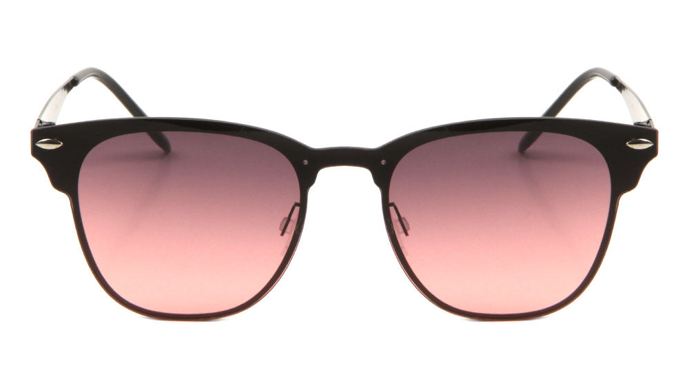 Semi-Rimless Retro One Piece Oceanic Color Lens Bulk Sunglasses