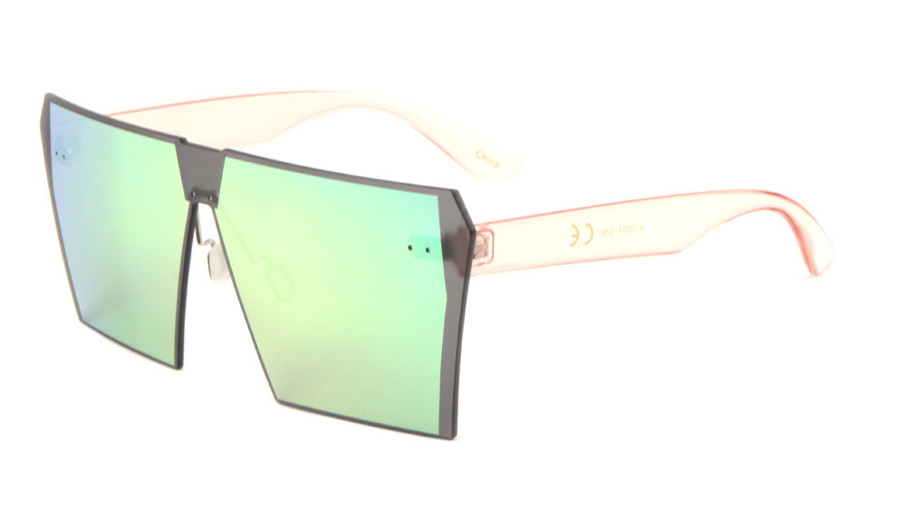 Squared Solid One Piece Color Mirror Bulk Sunglasses
