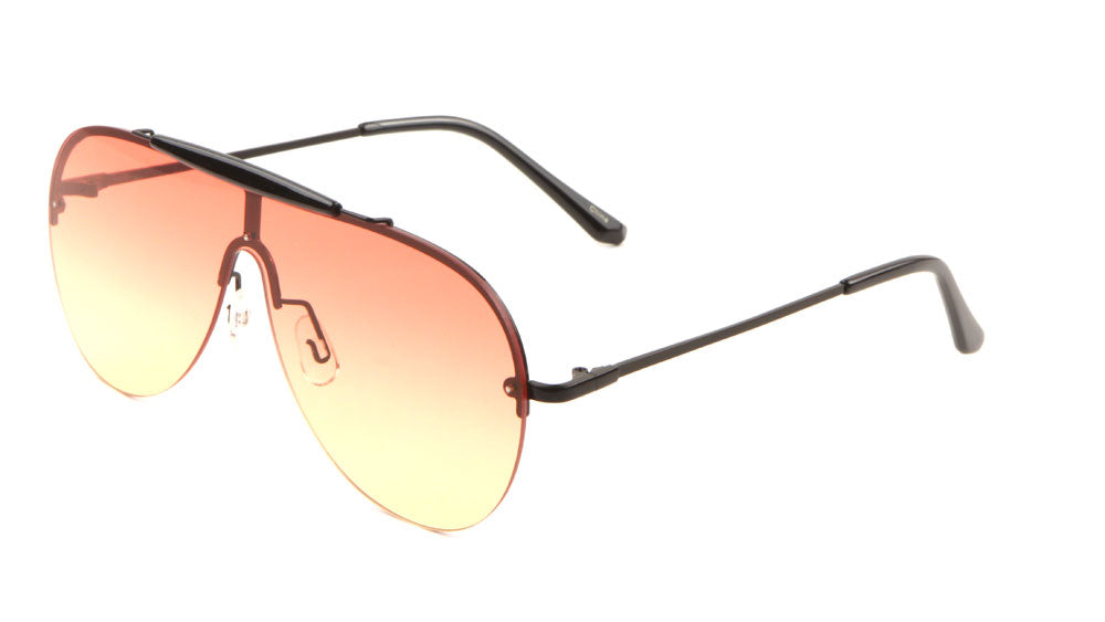 Rimless Solid One Piece Oceanic  Color Lens Bulk Sunglasses