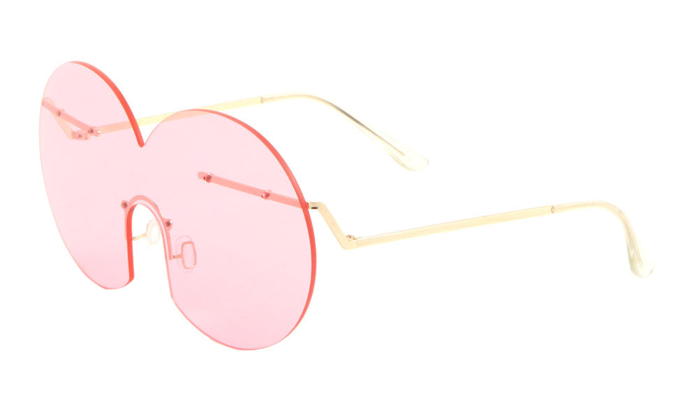 Avant Garde Rimless Solid One Piece Color Lens Wholesale Sunglasses