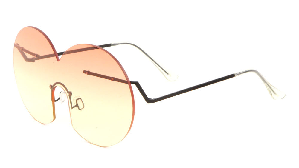 Avant Garde Rimless Solid One Piece Oceanic Color Wholesale Sunglasses