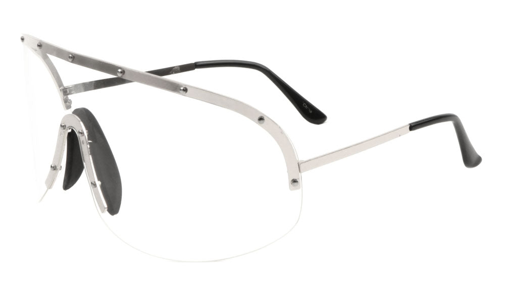 Rimless Solid One Piece Studded Clear Lens Wholesale Bulk Glasses
