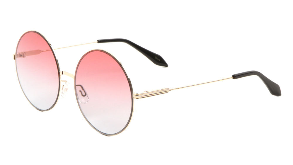 Flat Frame Round Oceanic Color Lens Wholesale Bulk Sunglasses