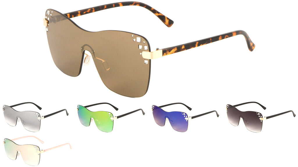 Rimless Rhinestone Color Mirror Lens Bulk Sunglasses