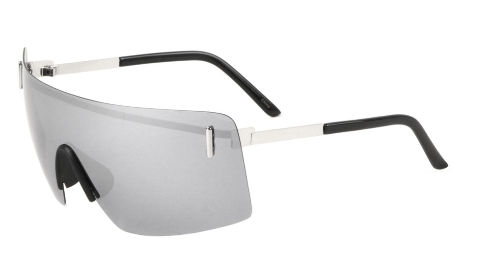 Small Rimless Shield Solid One Piece Lens Wholesale Bulk Sunglasses