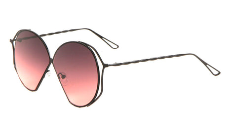 M10572-OC - Twist Temple Oceanic Color Angled Round Bulk Sunglasses