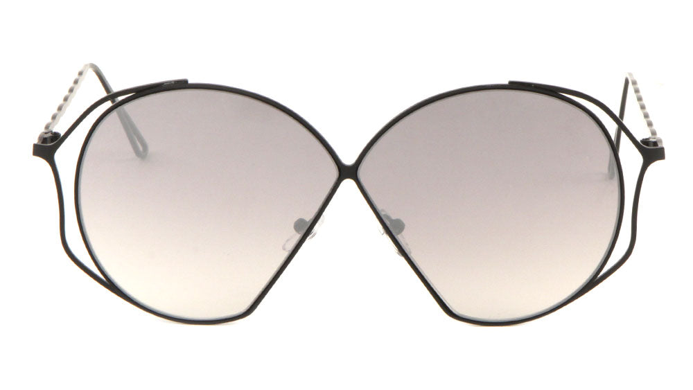Twist Temple Angled Round Lens Wholesale Sunglasses