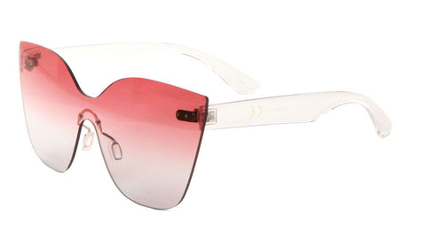 M10580-OC - Rimless Solid One Piece Oceanic Color Cat Eye Bulk Sunglasses