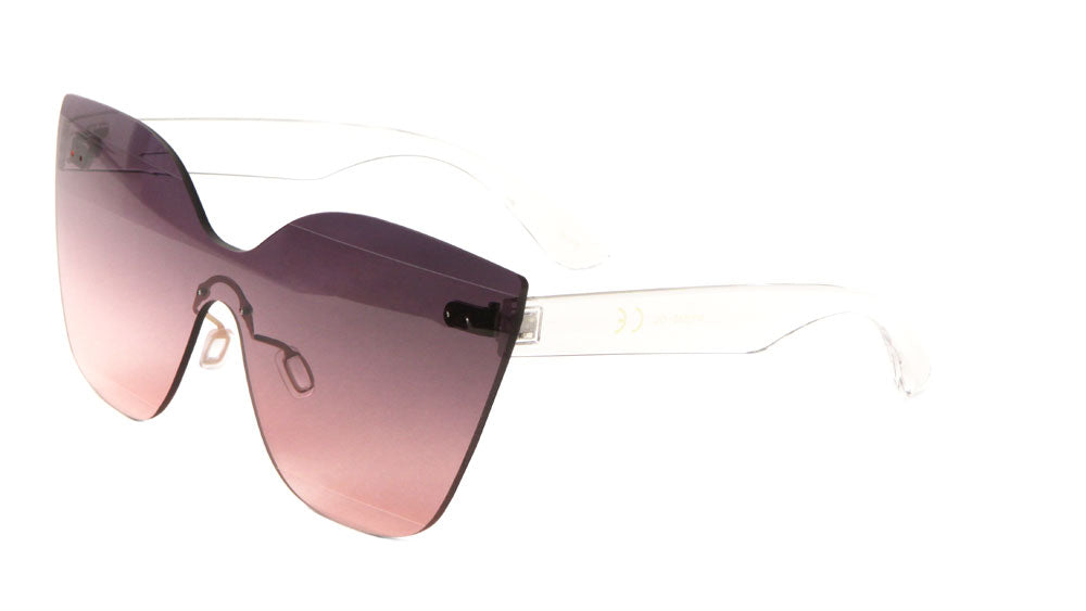 Rimless Solid One Piece Oceanic Color Cat Eye Bulk Sunglasses