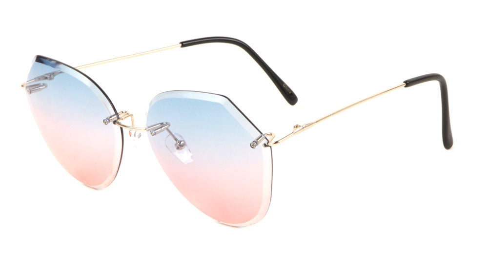 Rimless Butterfly Oceanic Color Lens Wholesale Bulk Sunglasses