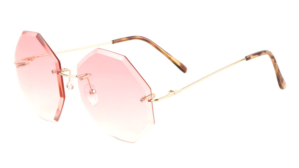 Rimless Octagon Oceanic Color Wholesale Bulk Sunglasses