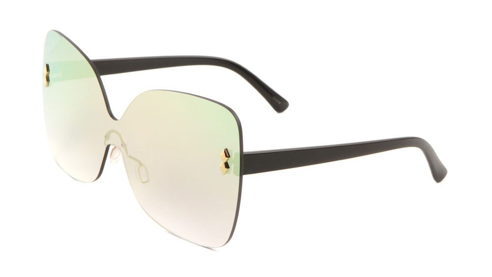 Rimless Color Mirror Butterfly Wholesale Bulk Sunglasses