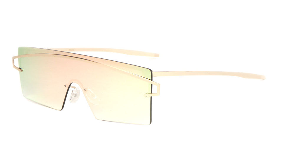 Rimless Solid One Piece Color Mirror Wholesale Bulk Sunglasses