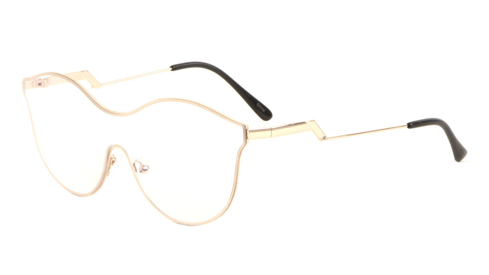 Modern Relief Solid One Piece Clear Lens Bulk Glasses