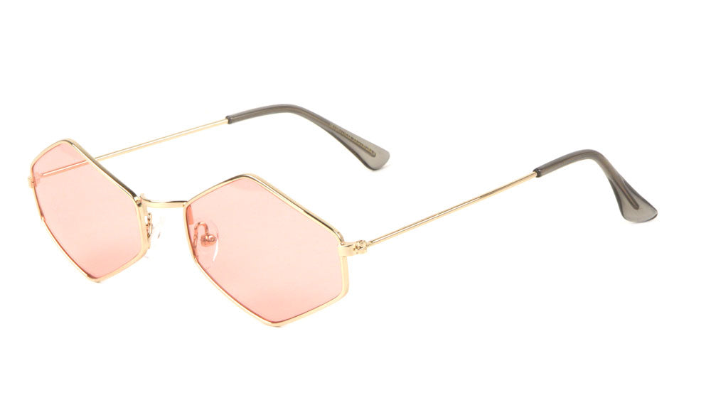 Small Thin Hexagon Color Lens Fashion Sunglasses