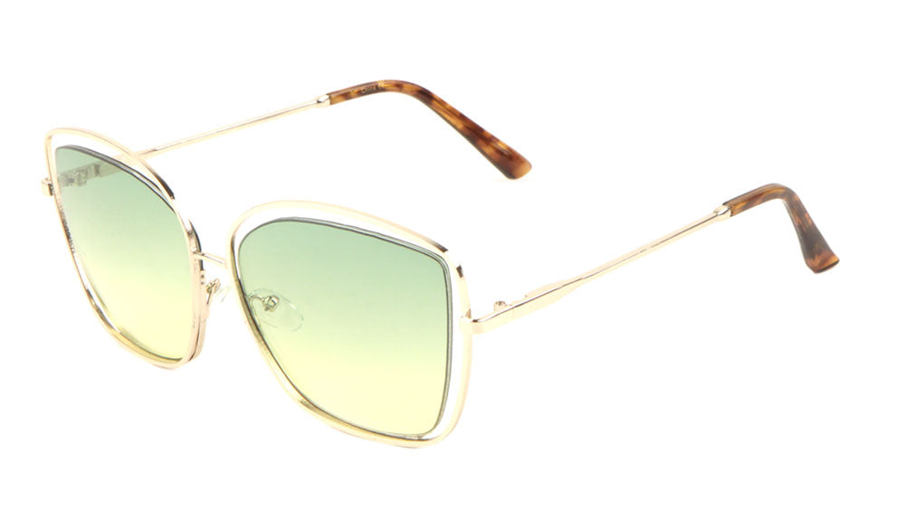 Wireframe Cat Eye Oceanic Color Wholesale Sunglasses