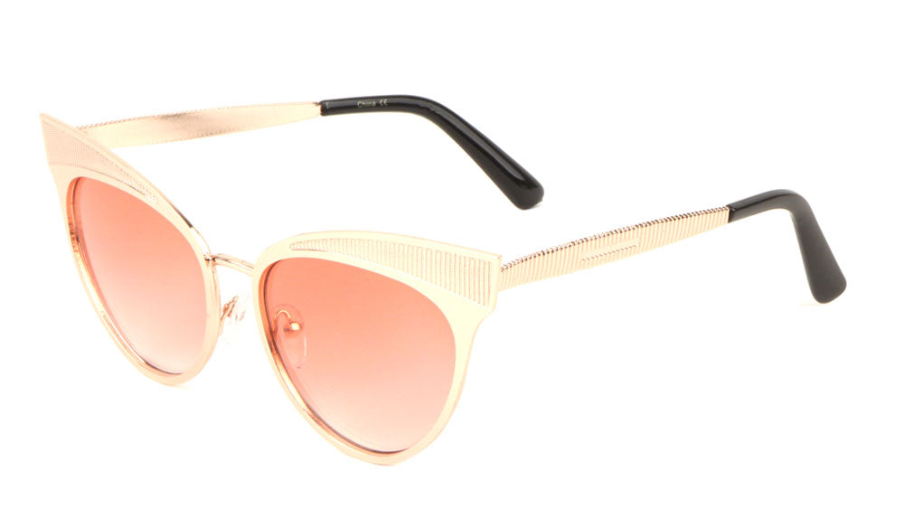 Ribbed Design Cat Eye Fashion Wholesale Sunglasses