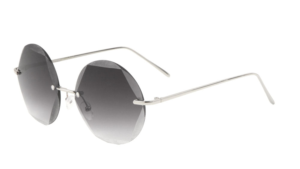 Round Geometric Rimless Metal Sunglasses Wholesale