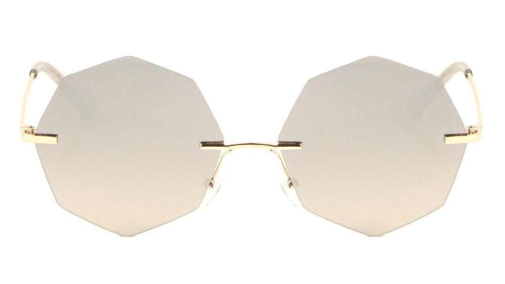 Geometric Rimless Metal Oceanic Color Gradient Sunglasses