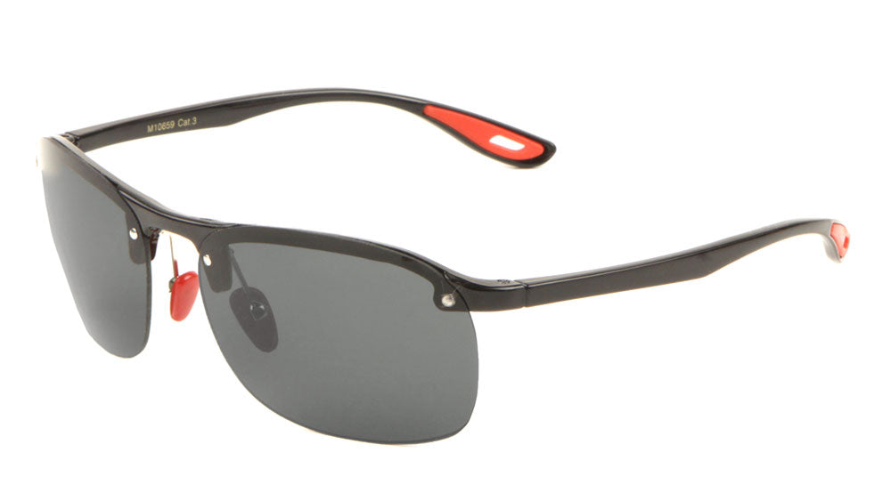 Rimless Metal Accent Sports Sunglasses Wholesale