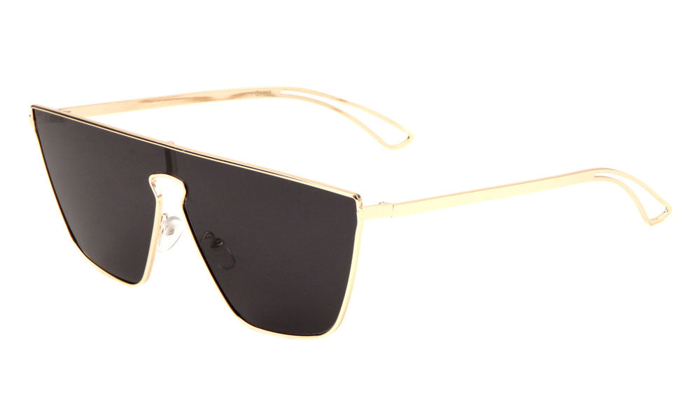 Flat Top One Piece Shield Keyhole Nose Sunglasses Wholesale