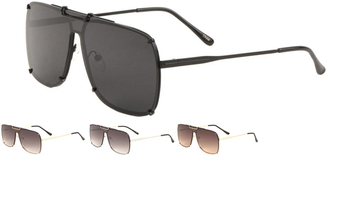 Wholesale Rimless Aviators Shield Sunglasses