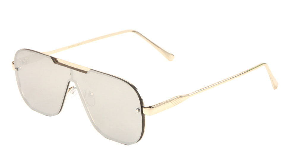 Wholesale Rimless One Piece Shield Sunglasses