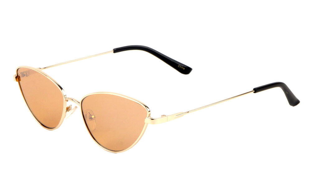 Wholesale Rounded Metal Thin Cat Eye Sunglasses