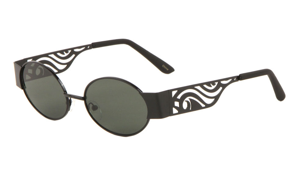 Wholesale Cut Out Temple Oval Sunglasses