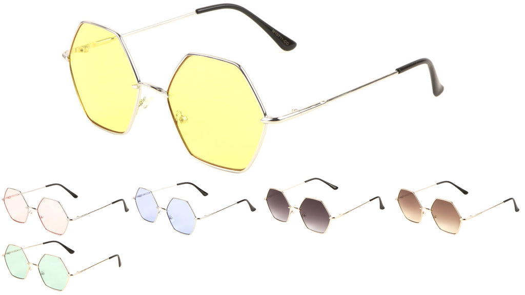 Hexagon Color Lens Wholesale Sunglasses