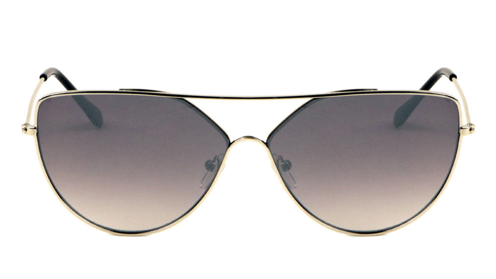 Flat Top Color Mirrored Cat Eye Wholesale Sunglasses
