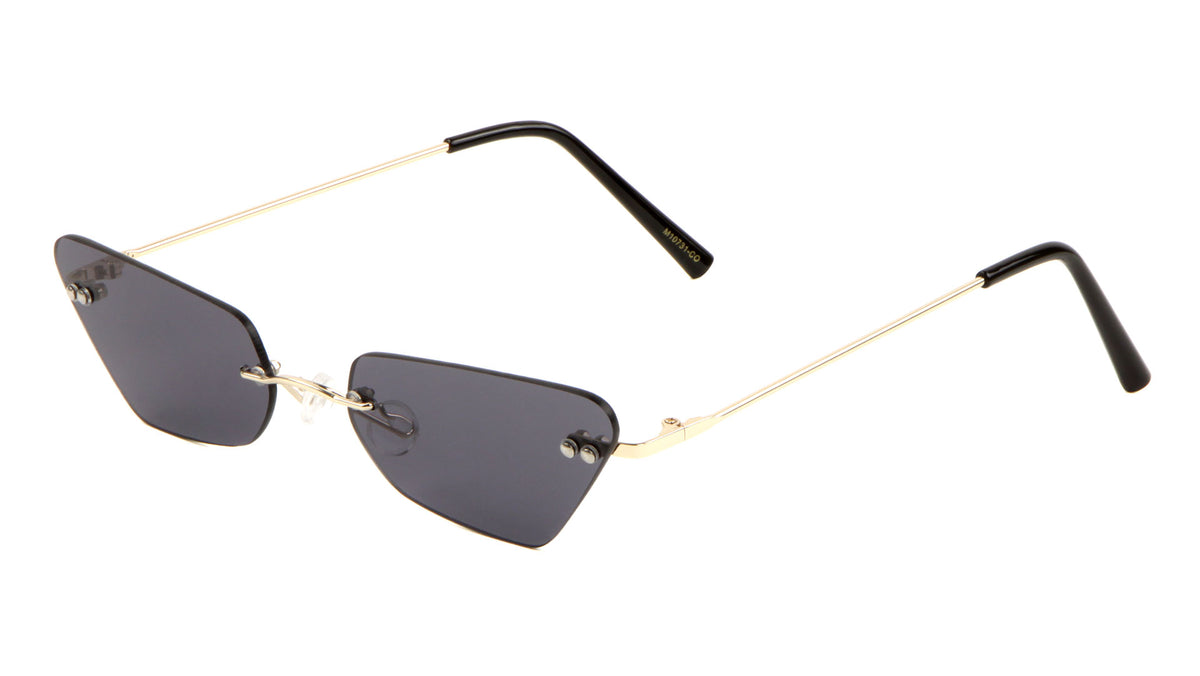 Thin Cat Eye Rimless Color Lens Wholesale Sunglasses
