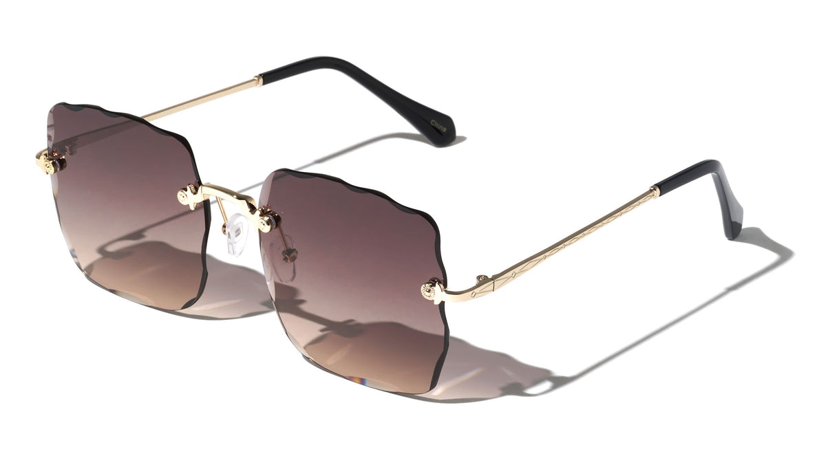 Rimless Rectangle Edge Cut Wholesale Sunglasses