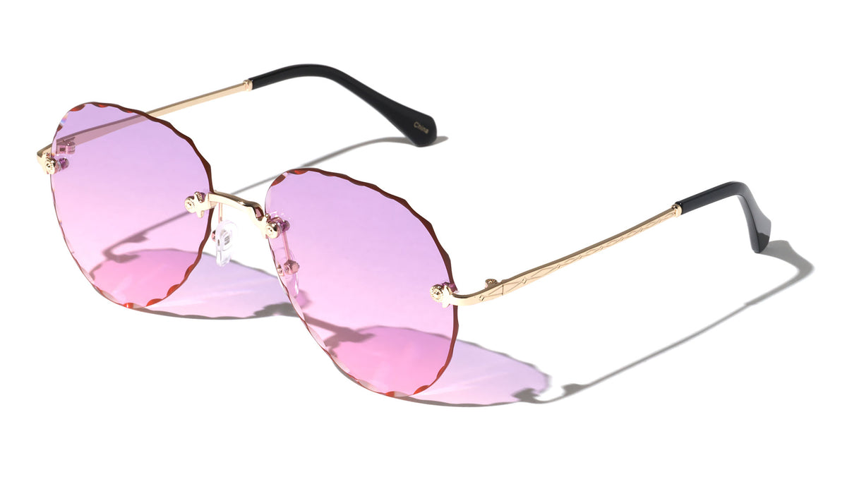 Rimless Butterfly Edge Cut Wholesale Sunglasses