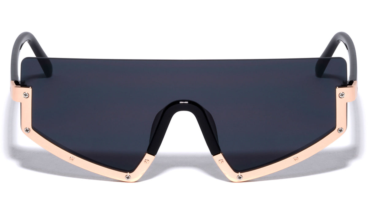 Rimless Flat Top Shield Wholesale Sunglasses