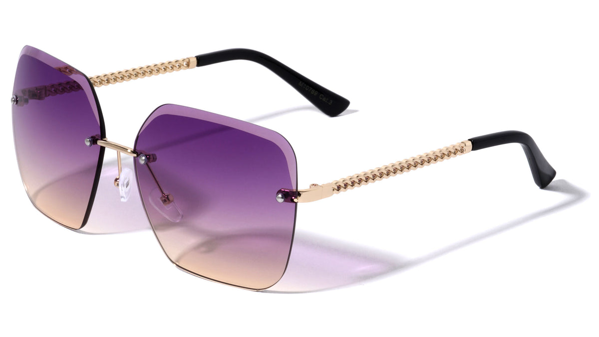 Edge Cut Bevel Rimless Butterfly Wholesale Sunglasses
