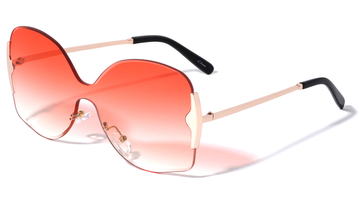 Rimless Shield Butterfly Wholesale Sunglasses