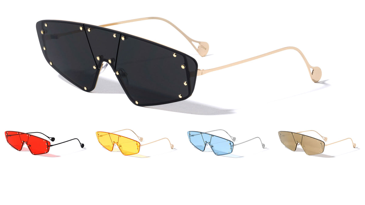 Rimless One Piece Shield Wholesale Sunglasses