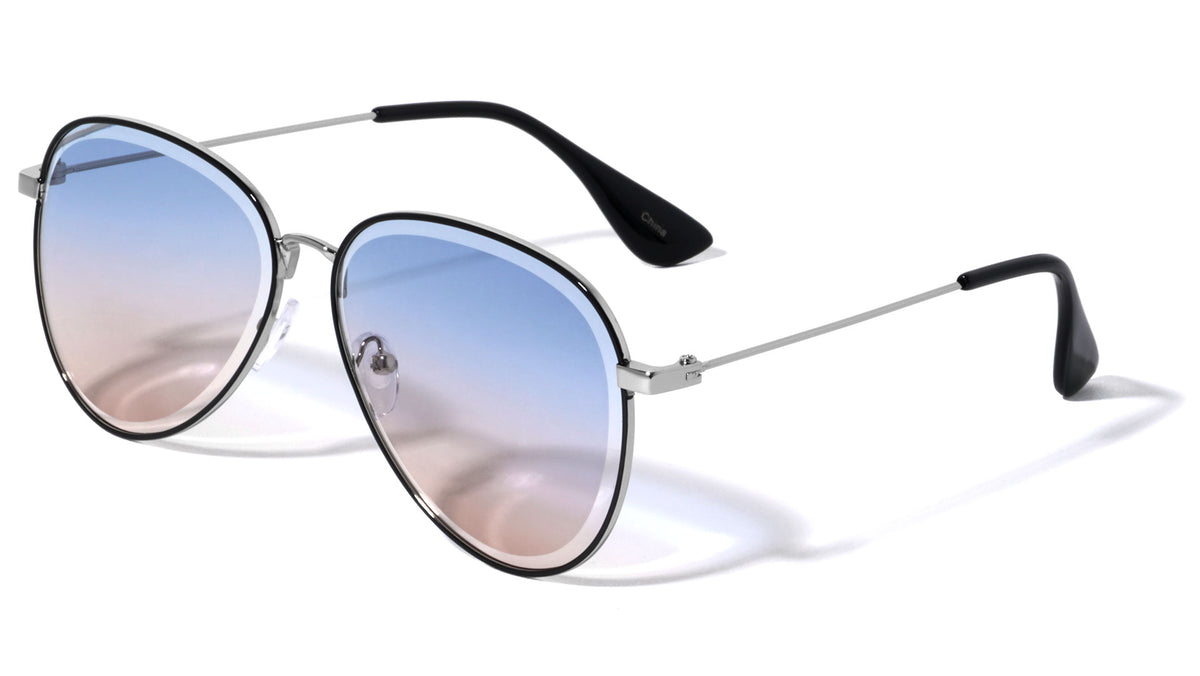 Edge Cut Bevel Butterfly Wholesale Sunglasses